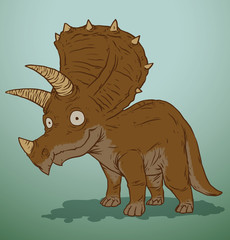 Vector brown cute dinosaur. Cartoon image of a brown cute dinosaur on a blue background. Looks like a triceratops.