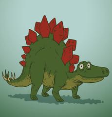 Vector green and red cute dinosaur. Cartoon image of a green and red cute dinosaur on a blue background. Looks like a stegosaurus.