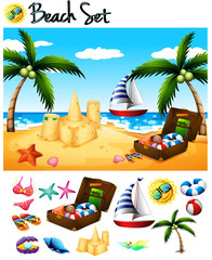 Beach objects and ocean scene