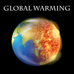 Global warming theme with earth on fire