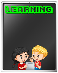 Girl and boy learning from tablet