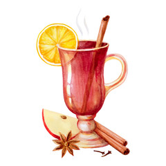 Watercolor mulled wine