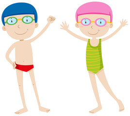Boy and girl in swimming suit