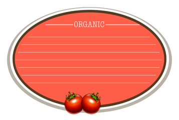 Line paper design with fresh tomatoes