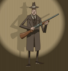 Vector mafiosi with a shotgun. Image of mobsters dressed in a dark gray coat and hat with a shotgun in his hand against the ball of light on a dark background.