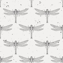 Vector grunge seamless pattern with dragonflies
