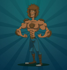 Vector funny macho man werewolf. Cartoon image of funny macho man werewolf with brown hair and brown wool in blue trousers and brown high boots on a blue background.
