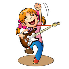 Happy girl jumping with a guitar isolated on white