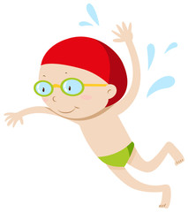 Little boy with goggles swimming