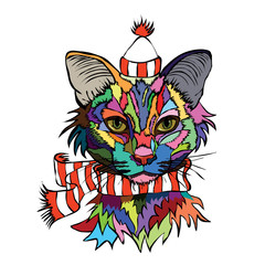 Vector illustration. Pop art portrait of a cat in a warm hat and