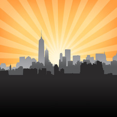 New York cityscape on Sunburst Pattern