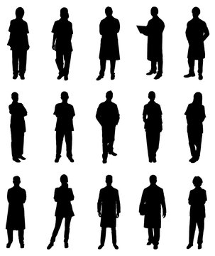 Collage Of Medical Practitioners Silhouettes