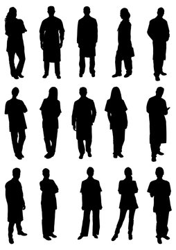 Set Of Doctors Silhouettes