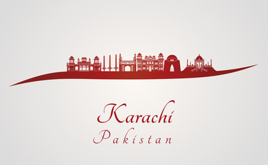Karachi skyline in red Fototapete