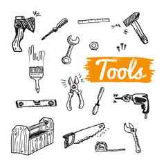 Set of Different Hand Drawn Tools