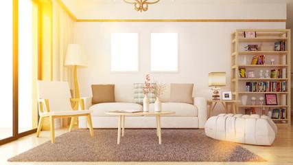 Wohnzimmer mit Bilderrahmen an Wand