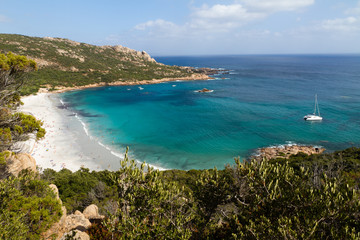 View from above of the beach of Roccapine, Corsica
