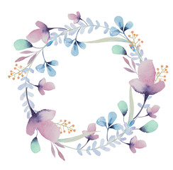 watercolor floral frame. Flowers in wreath.