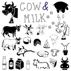cow and milk drawings and icons