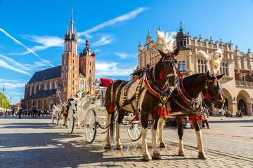Fototapeta Horse carriages at main square in Krakow obraz