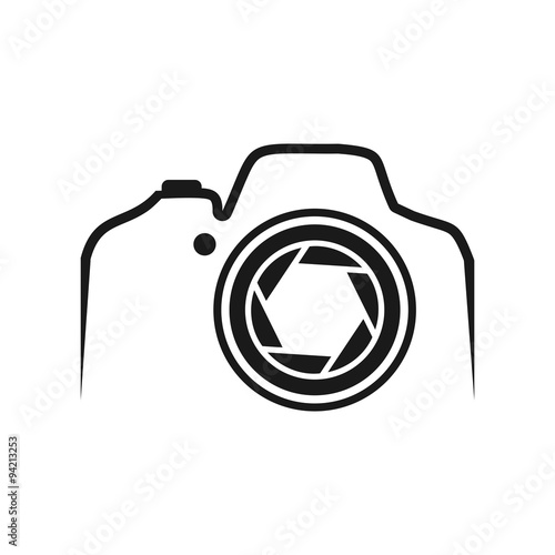 quotdslr camera line with lensquot stock image and royaltyfree