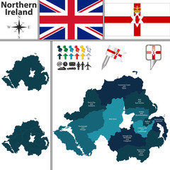 Map of Northern Ireland with Subdivisions