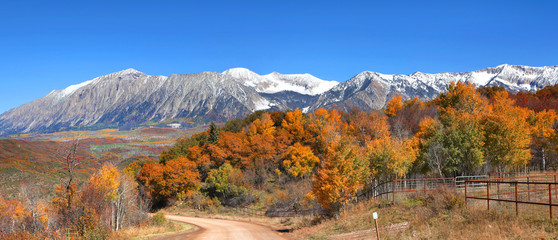 Autumn landscape at Kebler pass in Colorado