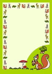 Letter - cartoon squirrel with acorns