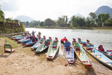 Boats near the Nam Song river at Vang Vieng, Laos