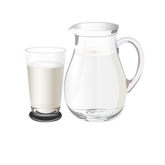 pitcher with milk, vector illustration