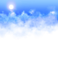 Banner with clouds and the background to insert information / text