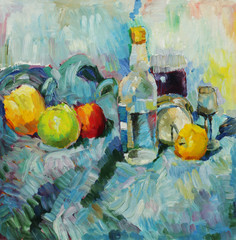 Oil painting. Still life with bottle and apples at the tissue background