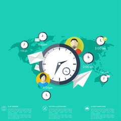 Clock flat icon. World time concept. Business background
