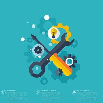 Flat repair icon. Mechanic service concept.  Web site creating.