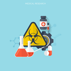 Flat health care and medical research background. Healthcare