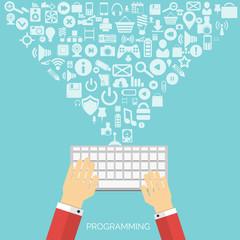 Flat cloud computing and social media background. Data storage