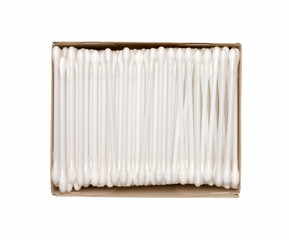Cotton swab package for cleaning ear on white background