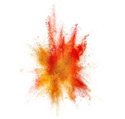 explosion of colored powder isolated on white