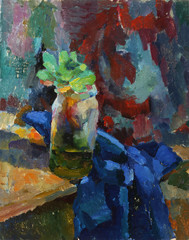 Oil painting. Still life with vase and plants on fabric
