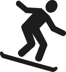 Snowboarder downhill pictogram