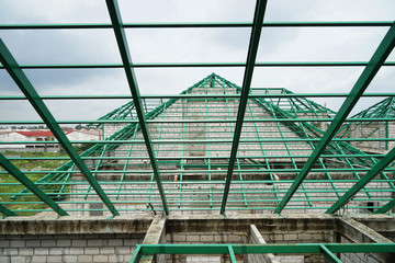 steel roof construction in village house