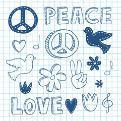 Peace doodle set