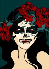 Woman with skull makeup and cobweb veil