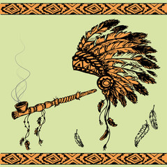 Native American Peace Pipe and chief headdress