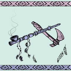 Native American Peace Pipe and tomahawk