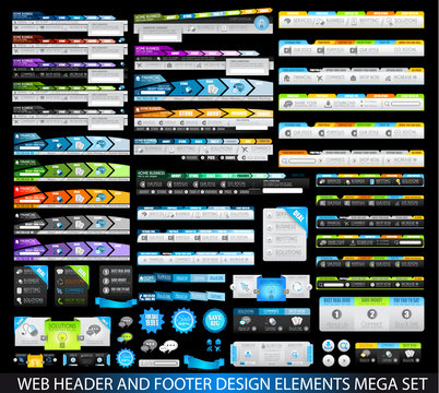 Mega Collection of Website templates, web headers, Footers, menu, drop menu, website icons, design elements for web pages, panels, buttons and so on.