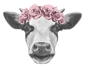 Portrait of Cow with floral head wreath. Hand drawn illustration.