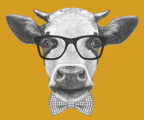 Portrait of Cow with glasses and bow tie. Hand drawn illustration.