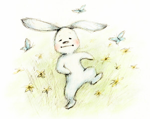 drawing of cute little bunny