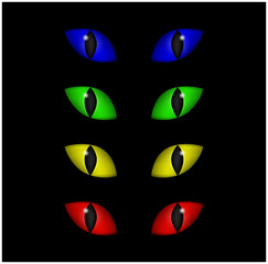 Halloween spooky eyes vector set isolated on black background. Illustration of Evil, dangerous, wild angry cat iris in darkness